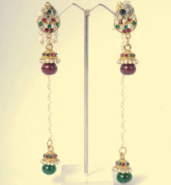 Kashmiri Jhumka Earrings in Ethnic Design