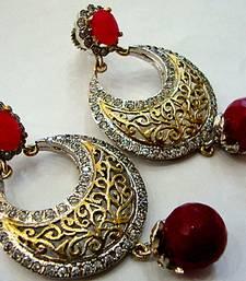 Buy ANTIQUE VICTORIAN RED PEARLS CHAND BALI hoop online