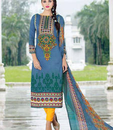 Buy Navy blue printed cotton unstitched salwar with dupatta ethnic-suit online