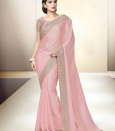 Buy Baby pink embroidered satin saree with blouse wedding-saree online