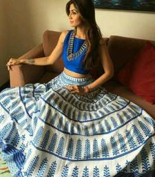 Buy white blue crep and printed printed unstitched lehenga choli bollywood-lehenga online