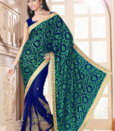 Buy Green And Blue brasso georgette saree with blouse brasso-saree online