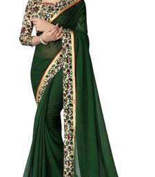 Buy Green printed georgette saree with blouse Saree online