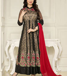Buy Black embroidered mono net semi stitched salwar with dupatta ayesha-takia-salwar-kameez online