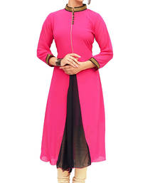 Buy Pink plain cotton georgette-kurtis georgette-kurti online