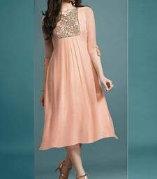 Buy Peach embroidered georgette georgette-kurtis georgette-kurti online