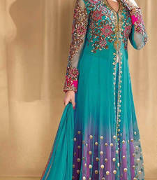 Buy Turquoise net semi stitiched salwar with dupatta semi-stitched-salwar-suit online