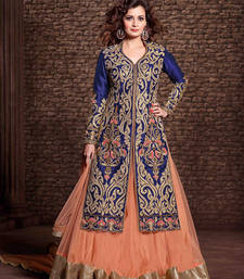 Buy Blue and  orange net embroidered unstitched salwar with dupatta anarkali-salwar-kameez online