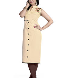 Buy Cream Color Stitched Kurti In Cotton Fabric. party-wear-kurti online