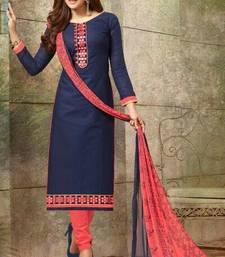 Buy Blue embroidered cotton salwar cotton-salwar-kameez online