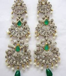 Buy ANTIQUE VICTORIAN WHITE N GREEN STONE STUDDED PEARLS HANGINGS stud online