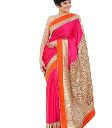 Buy Multi Color Plain georgette saree with blouse georgette-saree online