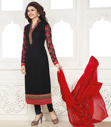 Buy Black Georgette embroidered unstitched salwar with dupatta dress-material online