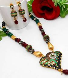 Buy Meenakari Heart Necklace Black Green Maroon Necklace online