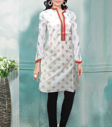 Buy White printed cotton cotton-kurtis cotton-kurti online