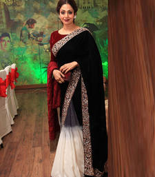 Buy Black embroidered chiffon saree with blouse sridevi-saree online