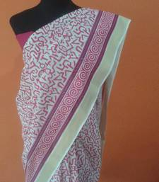 Buy pink and white abstract print saree cotton-saree online