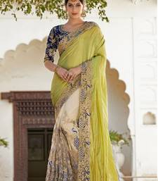 Buy Light Green embroidered net saree with blouse bridal-saree online