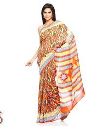 Buy Multicolor Canvas Print Pure Cotton Hand Block Print Saree cotton-saree online