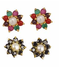 Buy Multicolor american diamonds studs combo-earring online