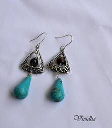 Buy  Silver Dangler Earrings with Turquoise Beads danglers-drop online