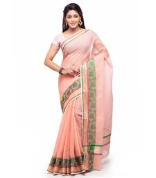 Peach Cotton Handloom Traditional Saree shop online