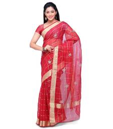 Buy Red embroidered silk saree with blouse kota-silk-saree online