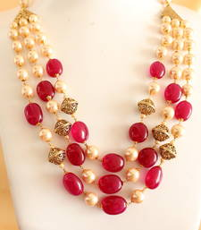 Buy Royal semi precious stone multilayer necklace set necklace-set online