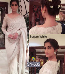 Buy White embroidered nylon saree with blouse bollywood-saree online