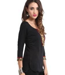 Buy kukn079 Viscose Black Short Kurti kurtas-and-kurti online