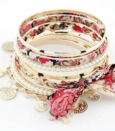 Buy Floral Bangles Set -Pink(CFB0045) bangles-and-bracelet online