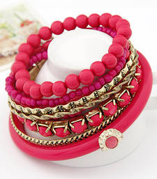 Buy Pink Ocean Beads Multilayer Bangles Set(CFB0063) bangles-and-bracelet online
