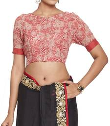 Buy Red multicolor pure crepe readymade blouse readymade-blouse online