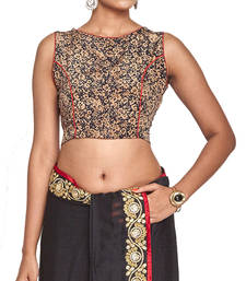 Buy Black multicolor pure crepe readymade blouse readymade-blouse online