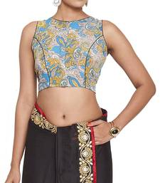 Buy Blue multicolor cotton readymade blouse readymade-blouse online