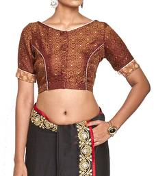 Buy Choclate brown brocade readymade blouse readymade-blouse online