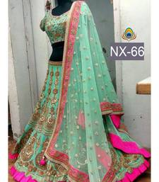 Buy Green embroidered net unstitched lehenga ghagra-choli online