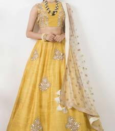 Buy Yellow Banglory Embroidery  unstitched lehenga choli lehenga-choli online