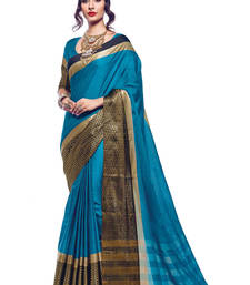 Buy Turquoise printed cotton silk saree with blouse wedding-saree online