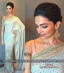 Buy Cream embroidered georgette saree with blouse deepika-padukone-saree online