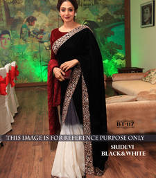 Buy Black embroidered velvet saree with blouse shilpa-shetty-saree online