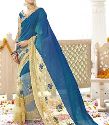 Buy Blue printed georgette saree with blouse georgette-saree online