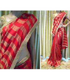 Buy Red jute georgette saree jute-saree online