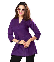 Buy Hypnotexpurple Cotton Kurti Chori5F kurtas-and-kurti online