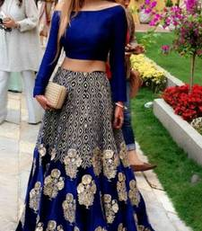 Buy Blue embroidered benglori unstitched lehengas choli ghagra-choli online