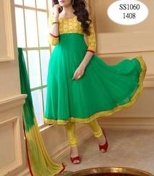 Buy Latest Designer Yellow and Aqua Green Long Anarkali Dress anarkali-salwar-kameez online