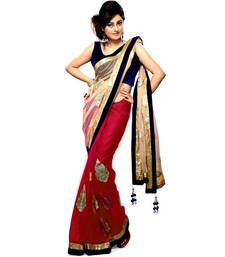 Buy Priyanka chopra bollywood half half net chiffon Red saree priyanka-chopra-saree online