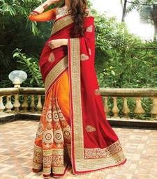 Buy Red hand woven georgette saree with blouse wedding-saree online