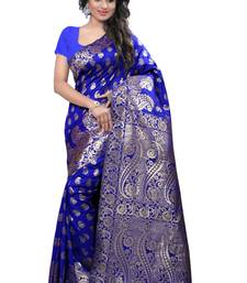 Buy Blue hand woven cotton silk saree with blouse banarasi-saree online