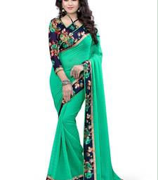 Buy Green printed brasso saree with blouse brasso-saree online